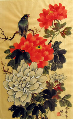 Bird & Orange and Red Peonies