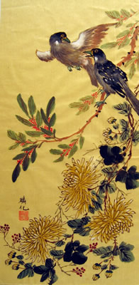 Birds & Yellow Flowers