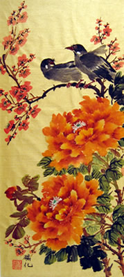 Birds & Orange Peonies & Plum Flowers