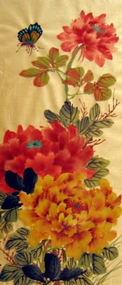 Butterfly & Red and Orange Peonies