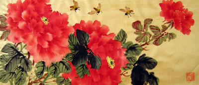 Bees & Red Peonies # 183