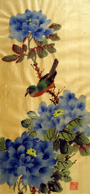 Bird & Blue Peonies # 185