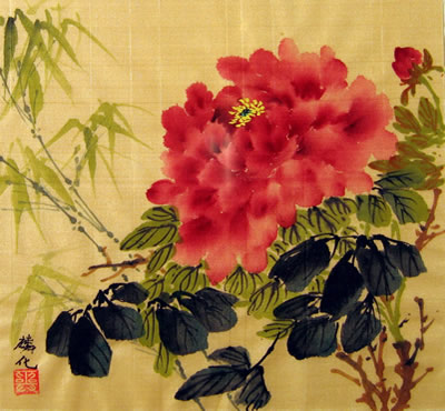 Bamboo & Red Peonies