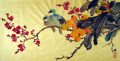 Birds & Cherry Blossom & Fruit