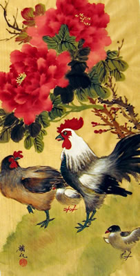 Roosters & Red Peonies # 324
