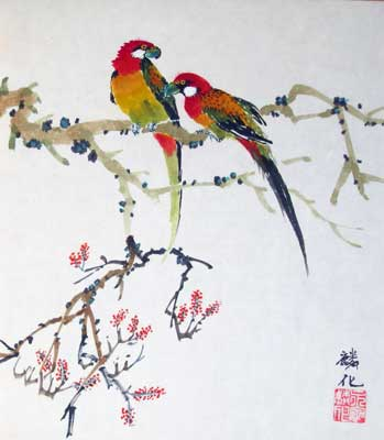 Bird with Plum flowers # 679