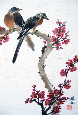 Bird with Plum flowers # 722