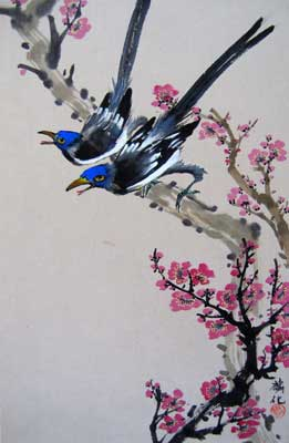 Bird with Plum flowers # 747