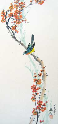 Bird with Plum flowers # 861