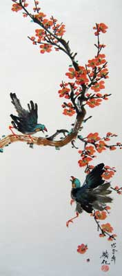 Bird with Plum flowers # 875