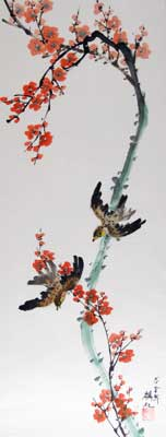 Bird with Plum flowers # 947