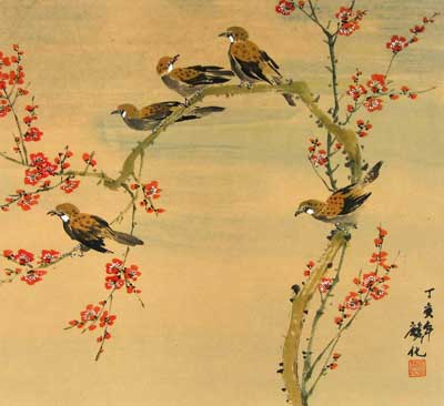 Birds & Cherry Blossoms # 1047