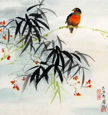 Bird with Bamboo & Cherry Blossoms # 1065