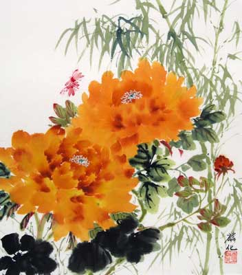 Dragonflies, Bamboo & Orange Peonies # 1095