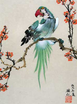 Parrot with Cherry Blossoms # 1131