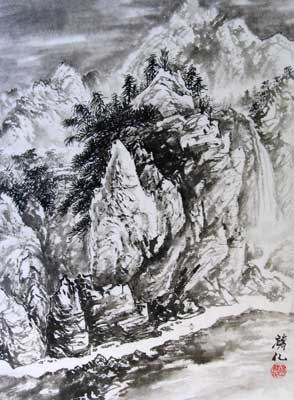 Black & White Landscape with Waterfall