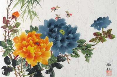 Orange & Blue Peonies with Bamboo # 1262