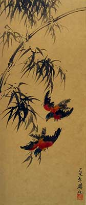 Bamboo with Birds # 1306