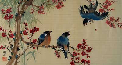 Birds with Cherry Blossoms # 1489