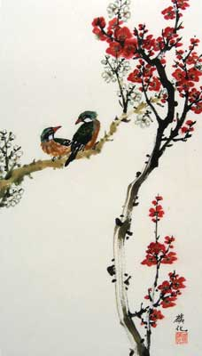 Birds with Cherry & White blossoms # 1491