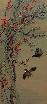 Birds with Cherry & White blossoms # 1522