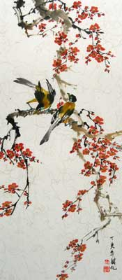 Birds with Cherry Blossoms # 1535