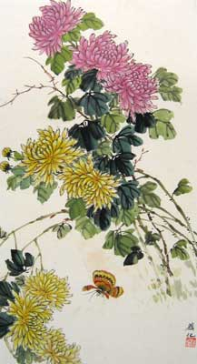 Butterfly with Purple & Yellow Chrysanthemum # 1537