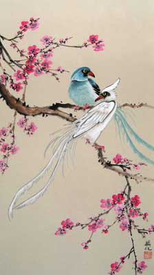 Birds with Pink & Cherry Blossoms # 1556